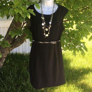 Dress Barn Black dress w/faux snakeskin belt sz 14